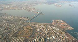 Aerial view of Bay Terrace, with the Throgs Neck Bridge crossing the East River to the north