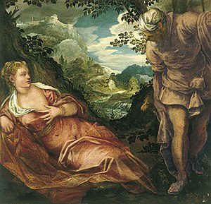 1557 in art - Tintoretto – Tamar and Judah, Museo del Prado