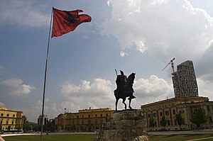 Landmarks in Tirana - The Skanderbeg Square.