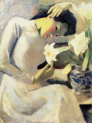 Vietnamese art - Thiếu nữ bên hoa huệ (Young Woman with Lily), oil, 1943, by Tô Ngọc Vân