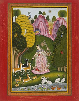 Raghogarh State - Certain arts were patronized by the states's rulers and flourished. One of the Ragamala paintings produced in Raghogarh.