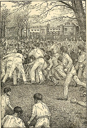 School story - Illustration of a game of rugby football from a 1911 edition of Tom Brown's School Days; first published in 1857, Tom Brown helped to typify the school story.