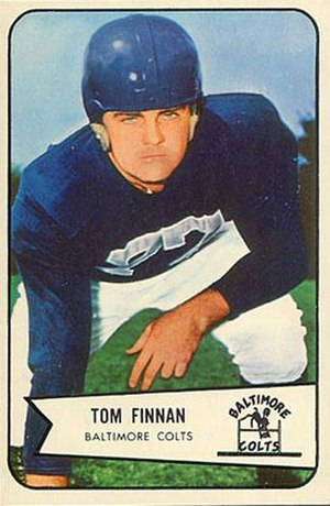 Tom Finnin - Finnin on a 1954 Bowman football card