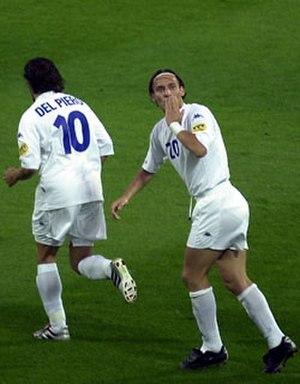 Air kiss - Francesco Totti blowing a kiss at UEFA Euro 2000.