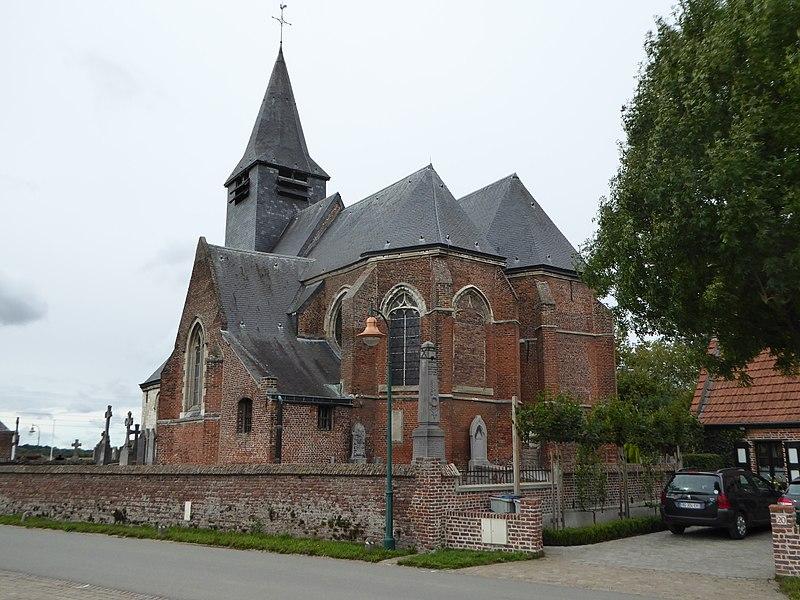 Chevet de l'Église Saint-Pierre-à-Antioche de Tourmignies Nord.- France