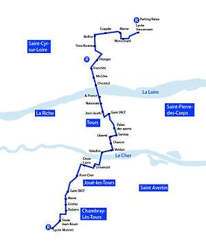 Tours tramway - Image: Tracé Tramway de Tours