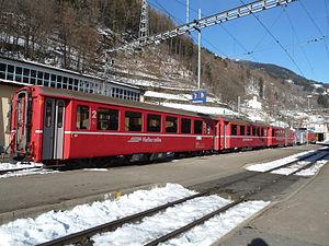 Poschiavo (Rhaetian Railway station) - Image: Train in Poschiavo(Rhb)