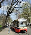 Tram near Novoslobodskaya station of Moscow Metro.png