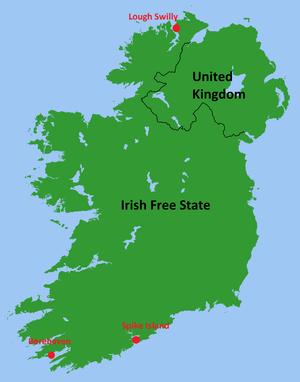 Treaty Ports (Ireland) - Location of the Treaty Ports in the Irish Free State, renamed Ireland in 1937 (1922-1938)