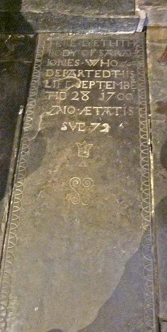 Trelystan - Tombstone of Sarah Jones, who died in 1700, aged 72