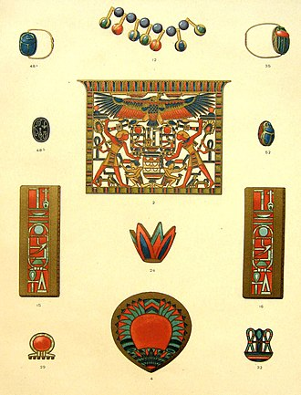 Art of ancient Egypt - Illustration of jewelry from rom the tomb of Princess Merit
