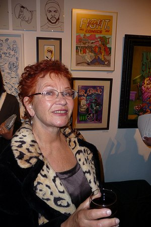 Trina Robbins - Trina Robbins at a 2010 Underground Comix art exhibit in San Francisco.