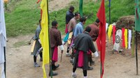 File:Trongsa Dzong, archery, bullseye dance.webm