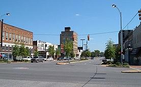 Vista del centro de Tuscaloosa desde Greensboro Avenue