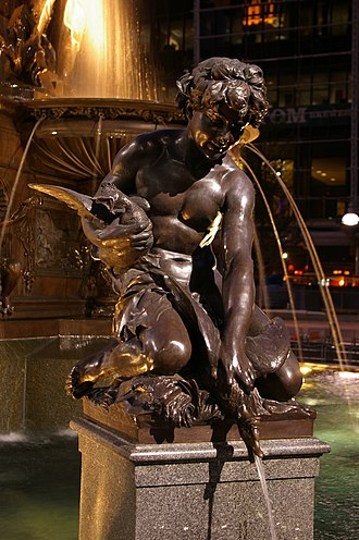 Tyler Davidson Fountain - A boy with a goose represents one of the pleasures of water.