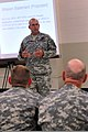 U.S. Army Brig. Gen. Kenneth Jones, commanding general of the 451st Sustainment Command(SC), discusses the importance of the military decision making process with Soldiers assigned to the 451st SC, at the Lanny 130608-A-SD144-028.jpg