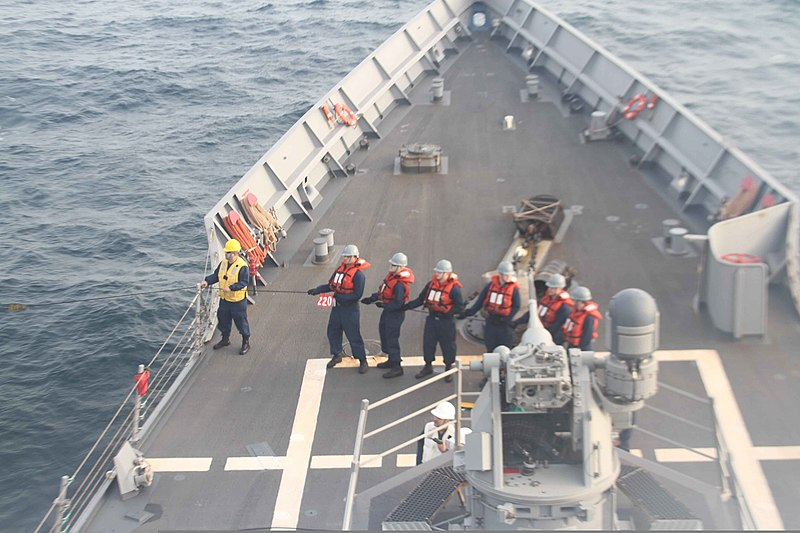 File:U.S. Sailors man a phone and distance line during a replenishment at sea with the Military Sealift Command dry cargo-ammunition ship USNS Carl Brashear (T-AKE 7) aboard guided missile frigate USS Taylor (FFG 50) 120809-N-ZZ999-9930.jpg