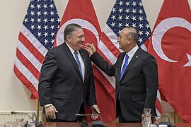 U.S. Secretary of State Mike Pompeo meets with Turkish Foreign Minister Çavusoglu on the margins of the NATO Foreign Minister's Meeting in Brussels, Belgium, on April 27, 2018. (41706267162)