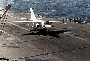 US-3A VRC-50 landing on USS Constellation (CV-64) 1987.jpg