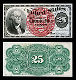 Twenty five-cent fourth-issue fractional note