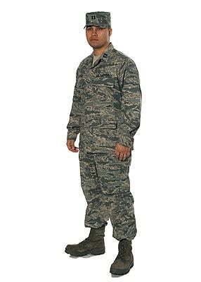 c77e0a66706 USAF Captain wearing Airman Battle Uniform with digital  tigerstripe-patterned patrol cap