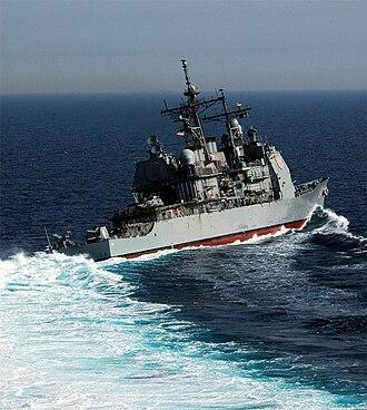 USS Antietam (CG-54) - Antietam makes a hard turn right