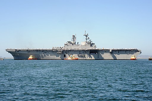 USS America (LHA-6) arrives at San Diego in September 2014