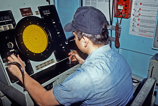 USS Conquest (MSO-488) mine detection and classification console