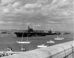 USS Enterprise (CV-6) Midway (CVB-41) and Augusta (CA-31) at anchor 1945.jpeg