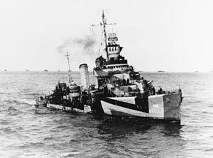 USS Kearny (DD-432) - Kearny off Gibraltar, circa 1944.