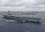 USS Nimitz leads a formation of ships in the Bay of Bengal as part of Exercise Malabar 2017. (36005614955).jpg