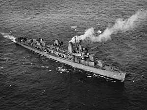 USS Thatcher (DD-514), underway in Boston harbor, Mass., 28 February 1943.