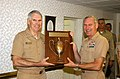 US Navy 040602-N-0924G-022 Adm. William J. Fallon, presents the 2003 Battenburg Cup Award to Capt. Michael Groothousen.jpg