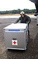 US Navy 050108-N-3970R-018 Cpl. Ian Ballentyne offloads medical supplies from a CH-53E Super Stallion helicopter at Muebaloh City Air Field.jpg