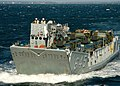 US Navy 061024-N-4236E-005 A Landing Craft Utility (LCU) transports eleven humvees from 26th Marine Expeditionary Unit (26th MEU) aboard the amphibious transport dock ship USS Shreveport (LPD 12).jpg