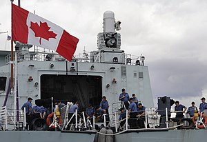 HMCS Ottawa (FFH 341) -  Canadian sailors aboard the Halifax-class frigate HMCS Ottawa handle mooring lines.