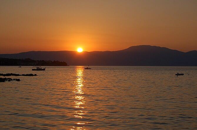 Sunset behind Učka mountain, Istria, Croatia. ...