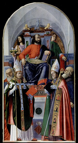 Giovanni Martini da Udine -  St Mark and Saints, 1501   Chapel of St Mark, Udine Cathedral