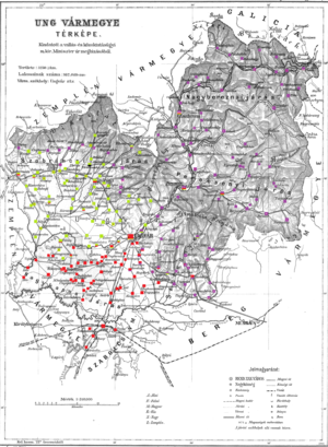 Ung County - Ethnic map of the county with data of the 1910 census (see the key in the description).