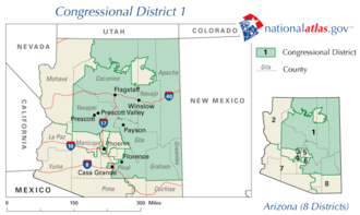 United States House of Representatives elections in Arizona, 2008 - Image: United States House of Representatives, Arizona District 1 map