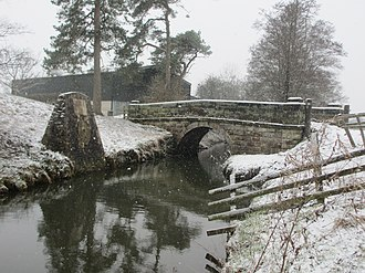 Royal Shrovetide Football - Up'Ards purpose-built goal at Sturston Mill, upstream from the plinth at Shawcroft