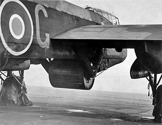 "Operation Chastise - ""Upkeep"" bouncing bomb mounted under Gibson's Lancaster B III (Special)"