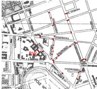 Locations of barricades marked on a prewar map of Warsaw.