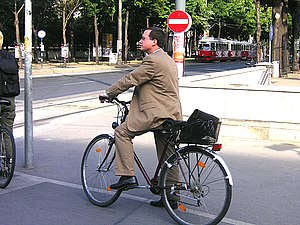 Bicycle commuting - Ringstraße, Vienna, Austria, 2005