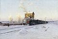 V. G. Kazantsev. Na polustanke. Zimnee utro na Uralskoy zeleznoy doroge. 1891. Holst- maslo..jpg