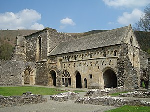 Valle Crucis Abbey - The chapterhouse in the east range; compare to the drawing by Rimmer over a century earlier