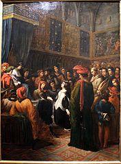 Valentine de Milan implore la justice du roi Charles VI pour l'assassinat du duc d'Orléans by Alexandre Colin