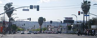 Van Nuys Boulevard - Van Nuys Boulevard at the Metro Orange Line crossing, 2008