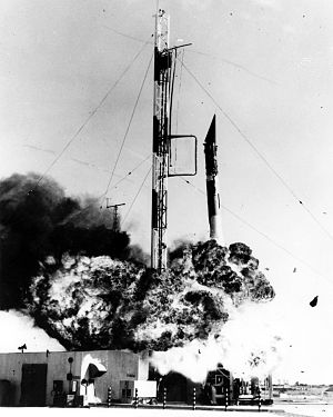 Project Vanguard - Vanguard rocket explodes seconds after launch at Cape Canaveral (December 6, 1957).