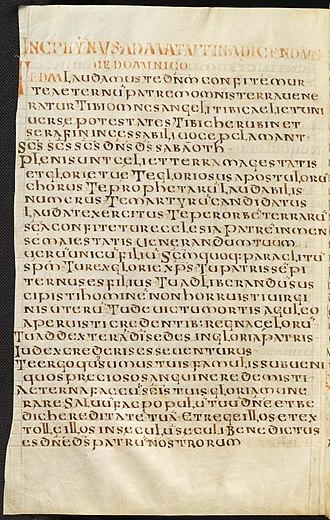 Te Deum - Vatican Reg. Lat. 11, fol. 230v (Frankish Hymnal, mid-8th century)